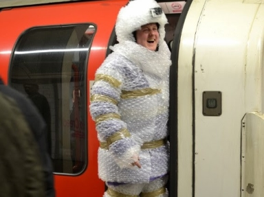 Man wrapped in bubble-wrap