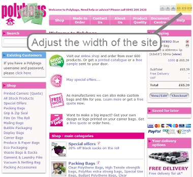 Changing the width of the site